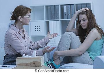 心理學家, 談話, 由于, 病人