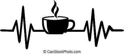 心臓の鼓動, コーヒー, 線, カップ