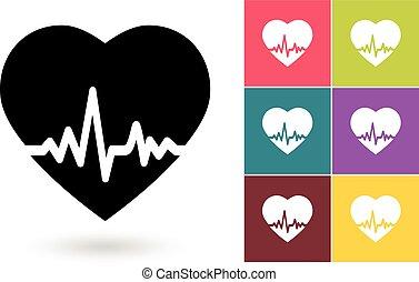 心臓の鼓動, ベクトル, アイコン
