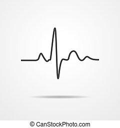 心臓の鼓動, ベクトル, -, illustration., アイコン