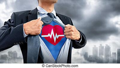 心臓の鼓動, superhero, 衣装, ビジネスマン