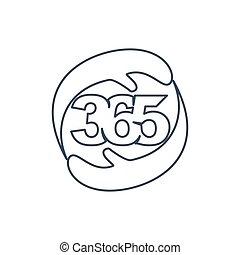 心配, アウトライン, アイコン, ロゴ, デザイン, 無限点, イラスト, 手, 365