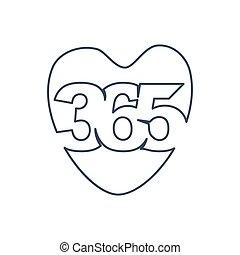 心配, アウトライン, アイコン, ロゴ, 愛, 無限点, デザイン, イラスト, 365