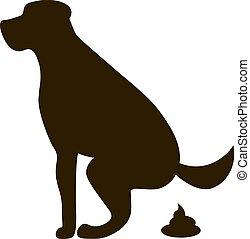 心配, 環境, 取得, 印, 清潔, 生態学的, 白い犬, pooping, pets., silhouette.