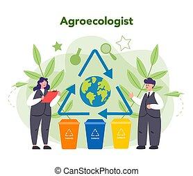 心配, 科学者, 地球, concept., 取得, 生態学者, 自然