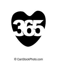 心配, 黒, アイコン, ロゴ, 愛, 無限点, デザイン, イラスト, 365