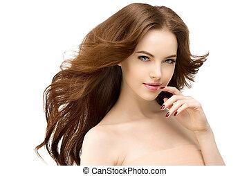 心配, hair., 女の子, ゆったりしている, 女, 待遇, 美しさ, 波状, 光沢がある, female., ファッション, 感触, きれいにしなさい, 隔離された, spa., 若い, concept., white., 美容術, 美しい, 新たに, 肖像画, 長い間, 皮膚, 美顔術, セクシー, 彼女, モデル, face.