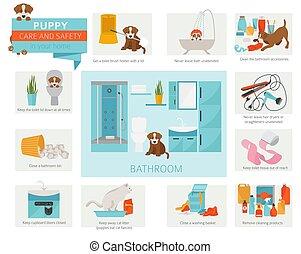心配, infographic, ペット, デザイン, 子犬, home., bathroom., あなたの, 訓練, ...