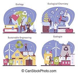 心配, set., 科学者, 生態学者, 取得, 生態学的, 自然, 勉強しなさい