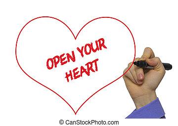 心, あなたの, 手, 板, マーカー, 執筆, 開いた, wipe, 透明, 人