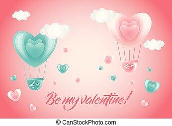 心, ありなさい, 私, -, バレンタイン, 空気, 風船, カード, 空