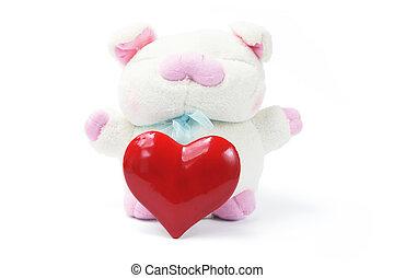 心, おもちゃ, 愛, 柔らかい, 豚