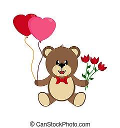 心, おもちゃ, 花束, 熊, 花, 風船