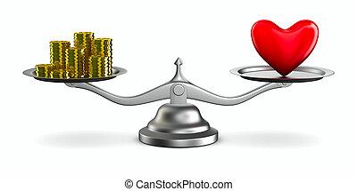 心, お金, スケール。, 隔離された, イメージ, 3d