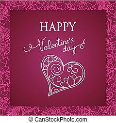 心, すみれ, カード, バレンタイン