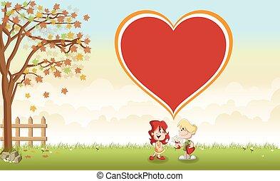 心, それら, 子供, 愛, 大きい, 上に, 漫画, アイコン