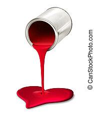 心, たたきつける, シンボル, ペンキの 缶, 赤