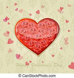 心, ばら, カード, バレンタイン