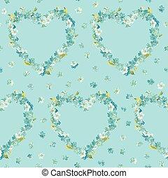 心, ぼろぼろ, 春, -, seamless, ベクトル, 背景 パターン, 花, シック, 花