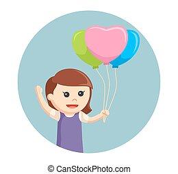 心, わずかしか, 形づくられた, 背景, 女の子, 風船, 円
