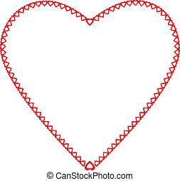 心, わずかしか, 色, フレーム, 背景, 心, 白い赤