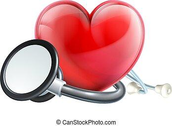 心, アイコン, そして, 聴診器