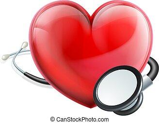 心, アイコン, そして, 聴診器, 概念