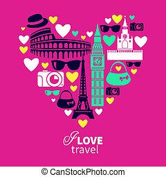 心, アイコン, 旅行, love., 形, 旅行
