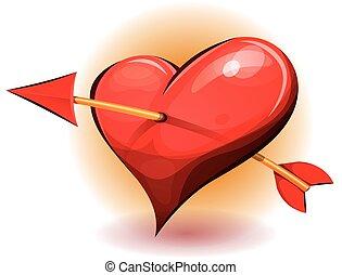 心, アイコン, 赤い矢印, 穴を開けられる