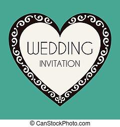 心, イメージ, ベクトル, 結婚式の招待