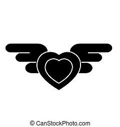 心, イラスト, 隔離された, 印, ベクトル, 黒い背景, アイコン, 翼