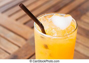 心, オレンジジュース, 新たに, 立方体, 氷