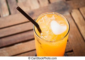 心, オレンジ, の上, ジュース, 立方体, 終わり, 氷