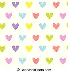 心, カラフルである, かわいい, パターン, 装飾, seamless, 形, 背景, 白