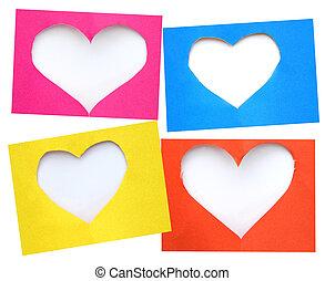 心, カラフルである, シンボル, 引き裂かれた, 形, ペーパー, 背景, 白, 上に