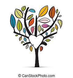 心, カラフルである, 木, 抽象的, 背景, 形づくられた, 白