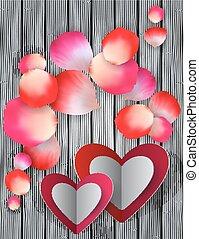心, カラフルである, 花弁, バラ