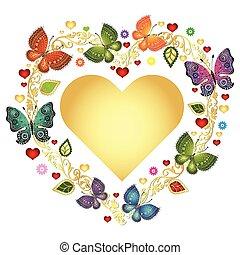心, カラフルである, 金, フレーム, バレンタイン, 蝶, 花