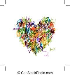心, カラフルである, 鉛筆図画, 形, デザイン, あなたの