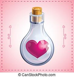 心, カード, びん, バレンタイン