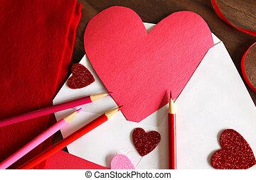 心, カード, 形づくられた, 手製, 封筒, 日, バレンタイン
