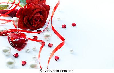 心, カード, 芸術, 背景, バレンタイン, 隔離された, ばら, 挨拶, 白い赤, 花弁, 宝石類