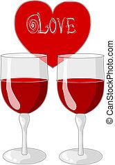 心, ガラス, day., ワイン, -, 1(人・つ), 2, バレンタイン