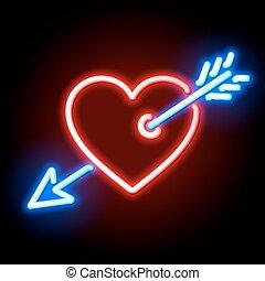 心, キューピッド, 赤い矢印, 穴を開けられる