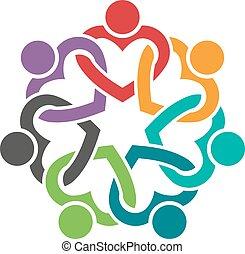 心, グラフィック, グループ, 人々, イラスト, ベクトル, チームワーク, デザイン, logo.