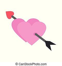 心, グラフィック, 愛, 恋人, イラスト, ベクトル, キューピッド