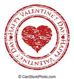 心, グランジ, バレンタイン, 切手, テキスト, 中, 隔離された, ゴム, stamp), 書かれた, ベクトル...