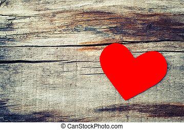心, グランジ, 木製である, ペーパー, 背景, 赤