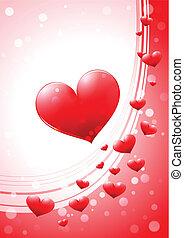 心, グロッシー, カード, バレンタイン
