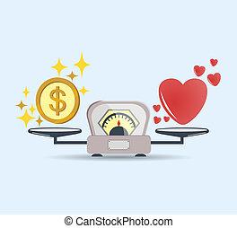 心, コイン。, 概念, 愛, スケール色, お金, 印。, 隔離された, choice., ベクトル, icon., バランス, scale.